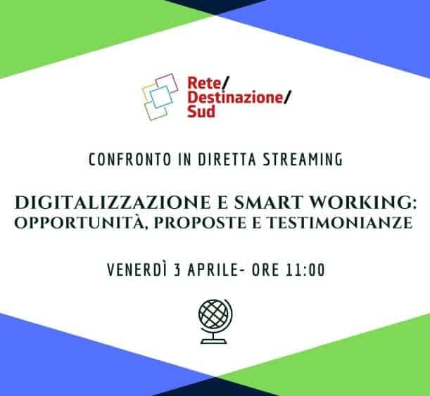 """Locandina evento Facebook """"Digitalizzazione e smart working: opportunità, proposte e testimonianze"""""""