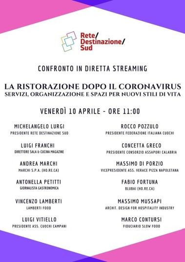 """Locandina evento Facebook """"La ristorazione dopo il Coronavirus. Servizi, organizzazione e spazi per i nuovi stili di vita"""""""