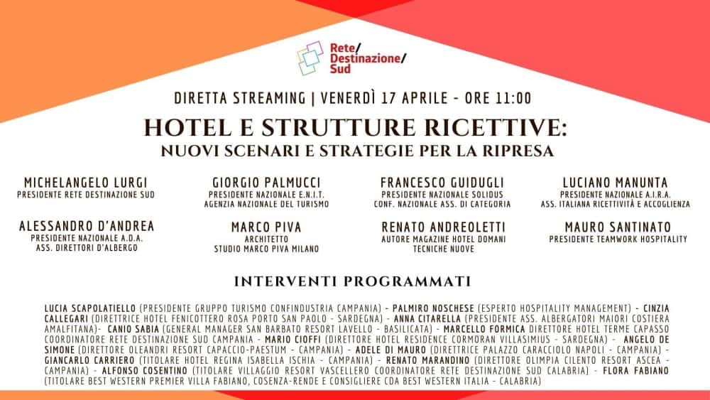 """Locandina evento Facebook """"Hotel e strutture ricettive: nuovi scenari e strategie per la ripresa"""""""