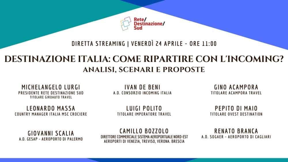 """Locandina evento Facebook """"Destinazione Italia: come ripartire con l'Incoming? Analisi, scenari e proposte"""""""