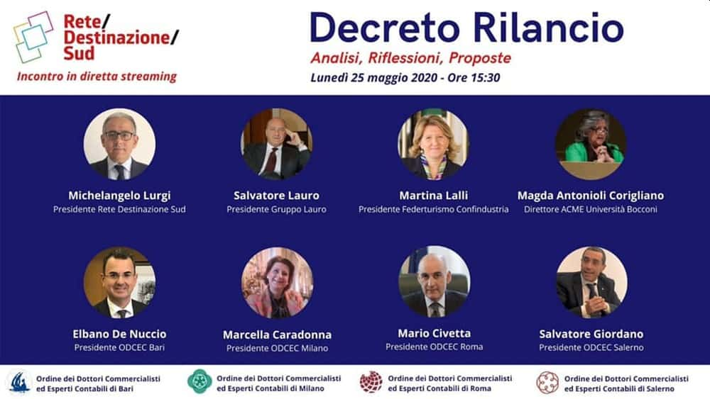 """Locandina evento Facebook """"Decreto Rilancio. Analisi, riflessioni, proposte"""""""